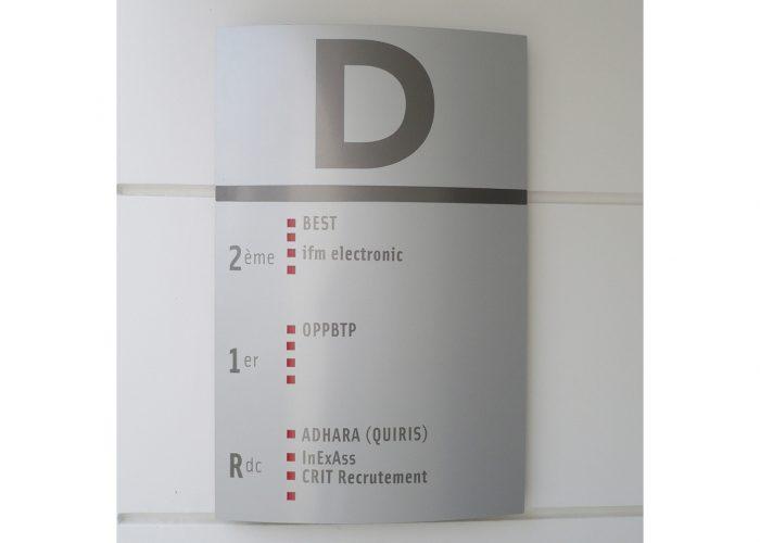 Panneau d'identification, signalétique du centre d'affaires
