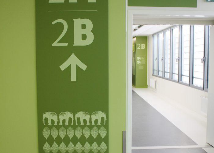 Signalétique du centre hospitalier - Jalonnement mural
